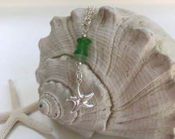 Sea Glass Cairn Sterling Silver Starfish Necklace, Sea Glass Cairn Necklace, Sea Glass Cairn Starfish, Stacked Atlantic Sea Glass, Cairn
