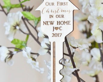 Our first Christmas in our new home ornament- key ornament- gift under 10- Our first Christmas