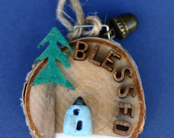 Blessed Christmas ornament, house and tree, little blue house, winter, woods, round art, hand made, art on wood, wood slice, snow, letter