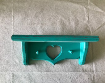 Heart Hand Painted Wall Shelf in Turquoise