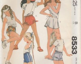 Girls' Shorts & Wrap Shorts Pattern McCalls 8533 Sizes Small 6/7 Uncut