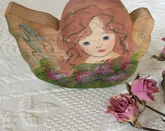 Vintage Woodblock Angel Painting. Wall Plaque or Standing Wooden Painted Angel By Rita Ann Butcher.