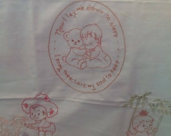 VINTAGE Embroidered Cotton Panel for Baby Quilt or Pillows.  Verbiage says: Now I Lay Me Down To Sleep