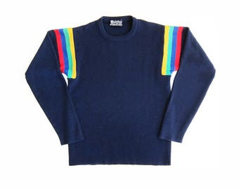 vintage sweater / rainbow sweater / striped sweater / 1970s navy rainbow striped sweater Small
