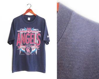 vintage t shirt / striped t shirt / Angels t shirt / 1990s California Angels striped baseball t shirt Large