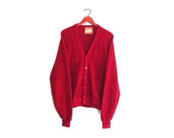 vintage cardigan / grandpa cardigan / burgundy cardigan / 1960s Jantzen burgundy wool knit grunge cardigan Large