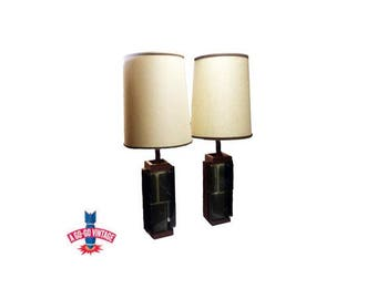 Vintage Smoked Lucite Lamps Pair, 1960s Mid Century Danish Modern Table Lamp
