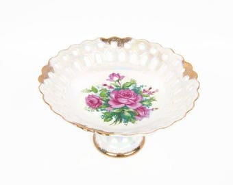 Vintage Porcelain Cake Plate Reticulated Compote Iridescent Pink Roses Pedestal Bowl Japan Brushed Gold Trim Candy Dish Scalloped Edges