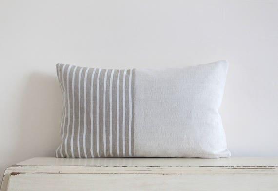 "Painted stripe linen pillow cushion cover 12"" x 20"""