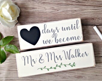 Personalised Wedding Countdown Blocks - Engagement Gift - Wedding Wooden Blocks - Countdown Gift - Gift for Friend - Newly Engaged - Wedding