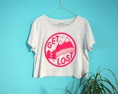 Get Lost Crop Top, Get Lost T-shirt, hello DODO T-shirt, Pink Crop Top, Boxy Crop, Adventure T-shirt, Women's Hiking T-shirt, Mountains Top