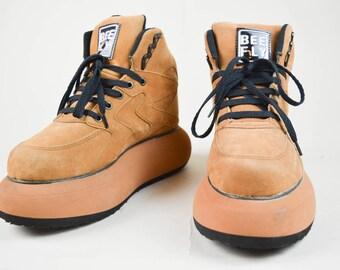 90s Grunge Clubkid Tan Bubble Sole Platform Sneakers Trainers UK 6 / US 8.5 / EU 39