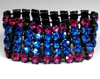 Wide Capri Blue Fuchsia Rhinestone Cuff Bracelet