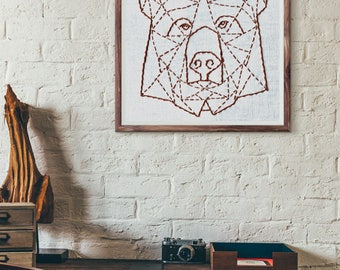 contemporary embroidery pattern geometric bear, rustic home decor, beginner embroidery, modern embroidery, embroidery patterns