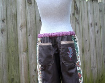 brown mens patchwork Dude Shorts hippie READY to SHIP 7 pocket botanical earthy 30 32 34 36 38 40  festival burner