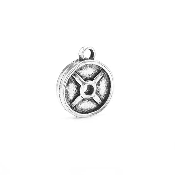 Mini Weight Plate Charm - Add a Charm to a Custom Charm Bracelets, Necklaces or Key Chains - Read Description for More Info - Nickel Free