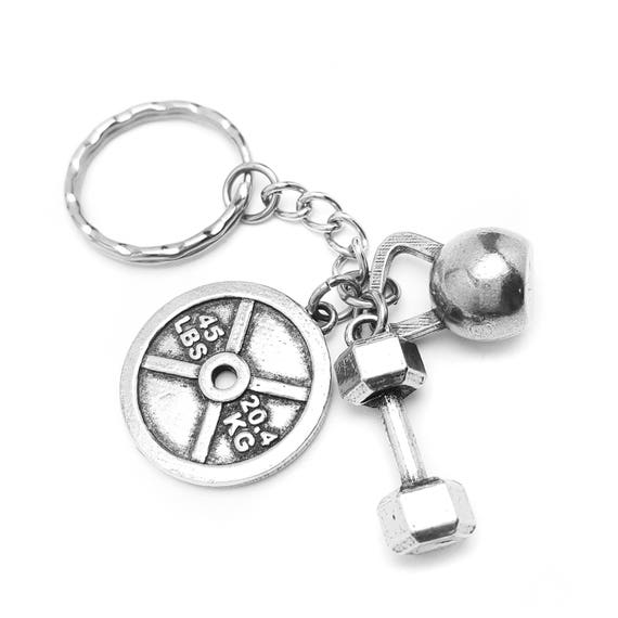 All About Those Weights Key Chain - Weight Plate, Dumbbell and Kettlebell - Fitness Accessories - Best Gifts for Guys or Women - Goals