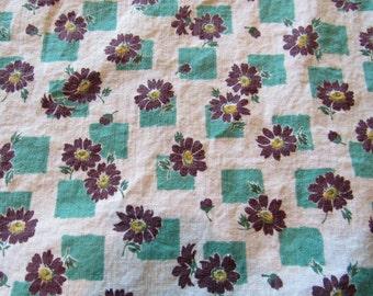 vintage FULL feed sack fabric -- turquoise and brown floral print