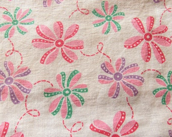 RESERVED FOR RETROA -- recycled vintage feed sack fabric -- bow flower novelty print