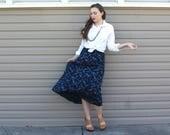 Vintage Ralph Lauren Silk Skirt - 90s Blue High-Waisted Summer Long Midi Skirt - SM