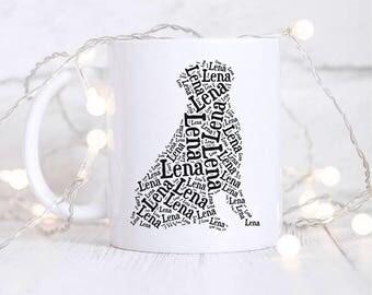 Golden Retriever Customized Gifts | Dog Mug | Word Art | Gifts for Dog Lovers | Dog Silhouette | Golden Retriever Dog Gifts | Dog Memorial
