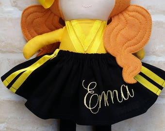 PERSONALISED CUSTOM Emma Wiggle Inspired Doll Handmade - Softie First Birthday Cloth Rag Doll - Child Friendly dolly Wiggles Music Dolly