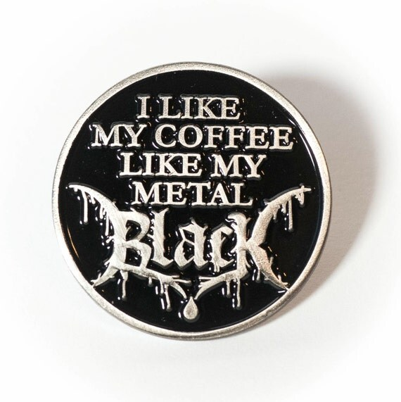 Black Metal Coffee Enamel Pin