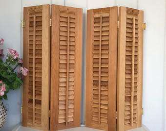 Vintage shutters etsy - Unfinished interior wood shutters ...