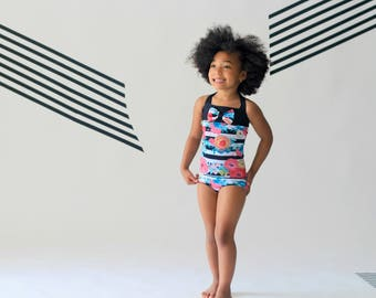 Floral Swimsuit - Swimsuit - One Piece Swimsuit - Halter Swimsuit - Girls Swimsuit - Toddler Bathing Suit - Pink Swimsuit - Black Swimsuit
