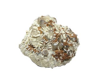 Quartz Crystals with White Dolomite and brown siderite Mineral Vintage Geo Specimen Mined in Mexico Science Curio Gem