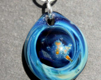 Night Sky Pendant, Starry Night Necklace, Lampwork Blown Boro Glass Art Sky SRA, Blown Glass Universe Space Jewelry