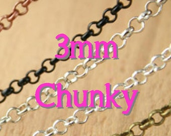 New. 50 Necklaces - CHUNKY Rolo Style - 24 inch - Bronze Chain - Mix and Match -Antique Copper Chain, Silver, Black, Antique Silver Chain
