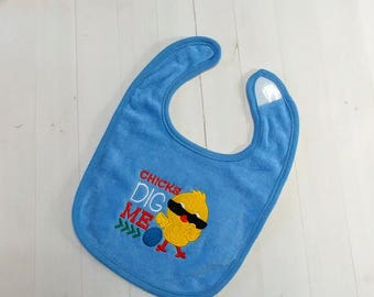 Chick dig me Easter embroidered Koala Baby cloth baby bibs for 6-12 month old boys