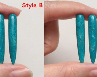 Rare Peruvian Blue Opal Half Drilled Icicle Spike Drops 6x35 mm One Pair J5810