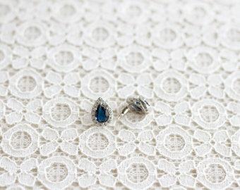 Sapphire CZ Teardrop Earrings Something Blue Jewelry Sapphire Earrings, Bridesmaid Gift, Bridesmaid Earrings, Maid of Honor, Sterling Silver