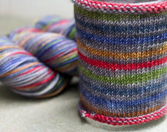 Hand Dyed Self Striping Sock Yarn, Libra Colorway