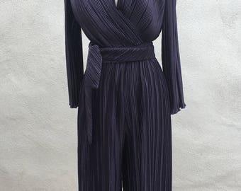 Vintage Jeanne Marc palazzo pant bodysuit top plum purple sz M