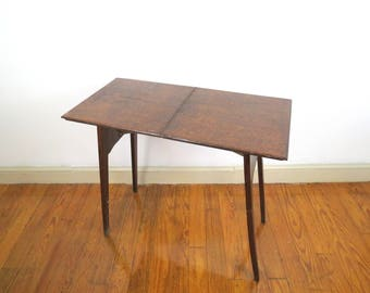 Howe Folding Table // Antique Wooden Collapsible Table Dark Wood Rustic  Entryway End Table Small