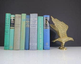Vintage Brass Eagle Statue // Mid Century Hollywood Regency Brass Bird Figurine Gold Metal Paperweight Falcon Hawk Flying Bird Bookend Form