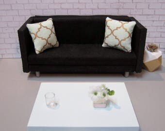 1:12 scale Modern Dollhouse Coffee Table in Pale Sea glass green