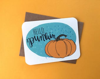 HELLO PUNKIN | Cute Halloween card, funny halloween greeting card, adorable pumpkin card, trick or treat card, Halloween punkin card