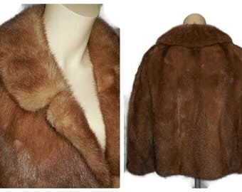 Vintage Mink Jacket 1960s 70s Saga Mink Coat Jacket Light Brown Fluffy Sleek Mink Fur High Quality VGC Fur Jacket Fur Coat M L chest to 41
