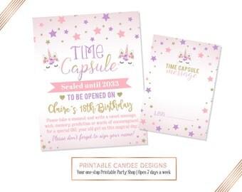 Unicorn Time Capsule, Unicorn Note cards, Unicorn Party, Unicorn Birthday