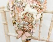 Fairytale unicorn Whimsical alternative Cascading brides brooch bouquet Vintage retro rhinestone button floral flower wedding posy bouquet