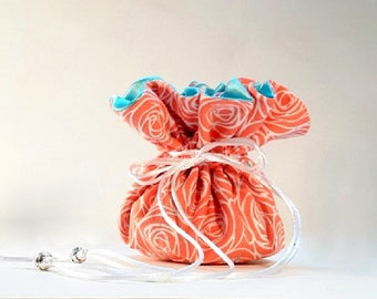 Coral Roses Jewelry Bag / Travel Jewelry Case / Jewelry Organizer / You Choose the Perfect Inside Lining Color