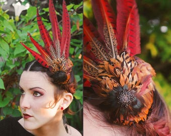 Pheasant tail pillbox-style perch hat w/ vintage curled feathers ~ Art Deco ~ Couture ~ High Fashion ~ Ascot Derby Race Hat ~ Cocktail Party