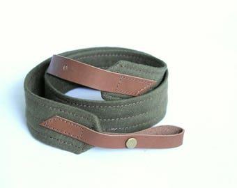 Olive Green Linen Mandolin / Ukulele Strap
