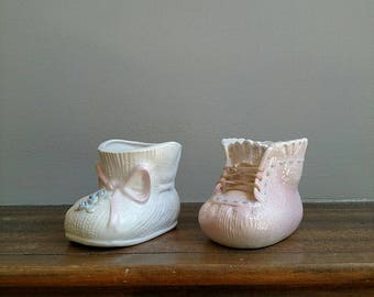 Baby bootie planters, Baby Bootie Planter Set, Set of Two Shoe Planters