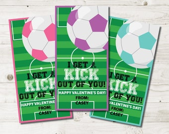 Girl Soccer Valentine Cards Kids, Children Soccer Valentines Cards, School  Valentine, Classroom Valentines