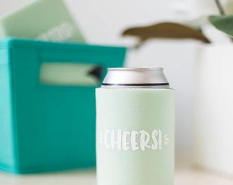 Cheers Can Cooler, Fourth of July Party Favor, Independence Day Party Decor, Southern Wedding Favor, Bachelorette Party Favor, BBQ Accessory